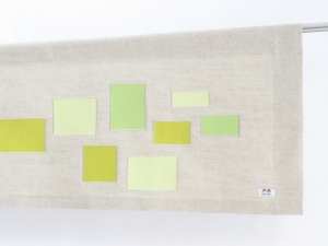 Linen yellow green contemporary curtain valence