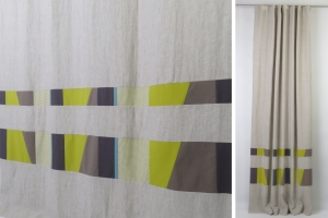 Modern boys linen olive green curtains